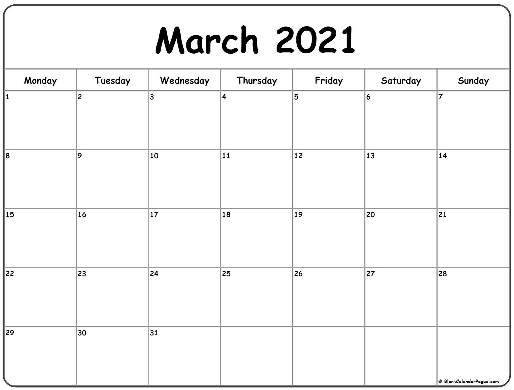 March 2021 Monday Calendar | Monday To Sunday-2021 Calendar Fill In