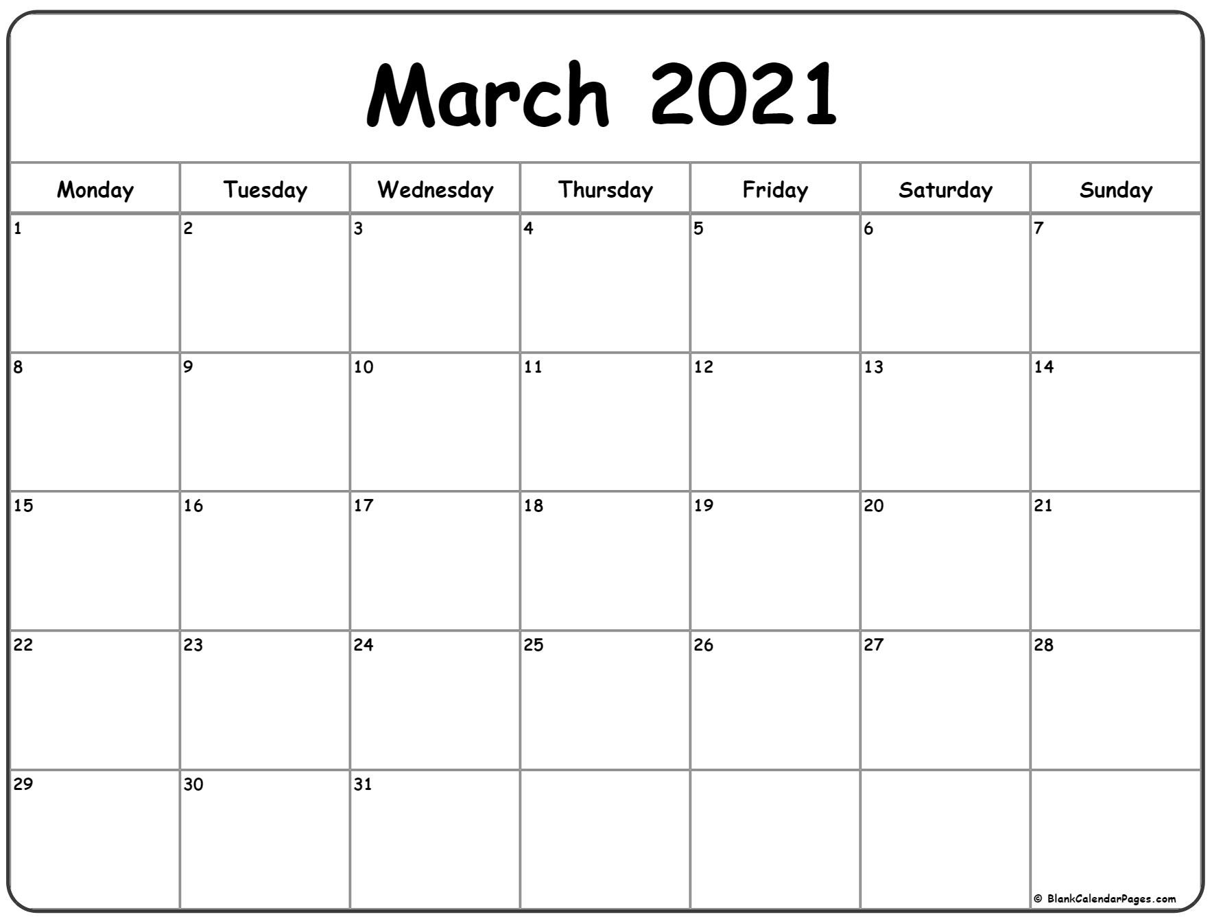 March 2021 Monday Calendar | Monday To Sunday-2021 Calendar To Fill In