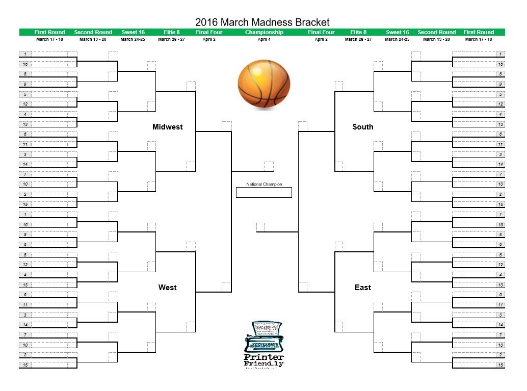 March Madness Bracket 2016 - Printerfriend.ly-Printable Monthly Blank Calendars Showing Nfl Games