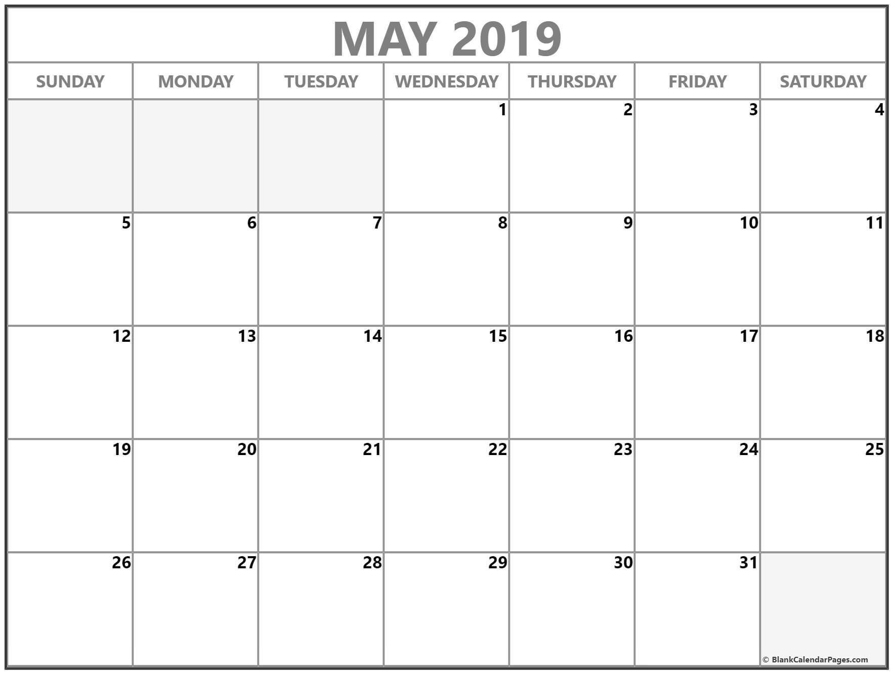 May 2019 Blank Calendar Templates. | Blank Calendar Template, Calendar Printables, Monthly-Free Fillable Calendars 2021