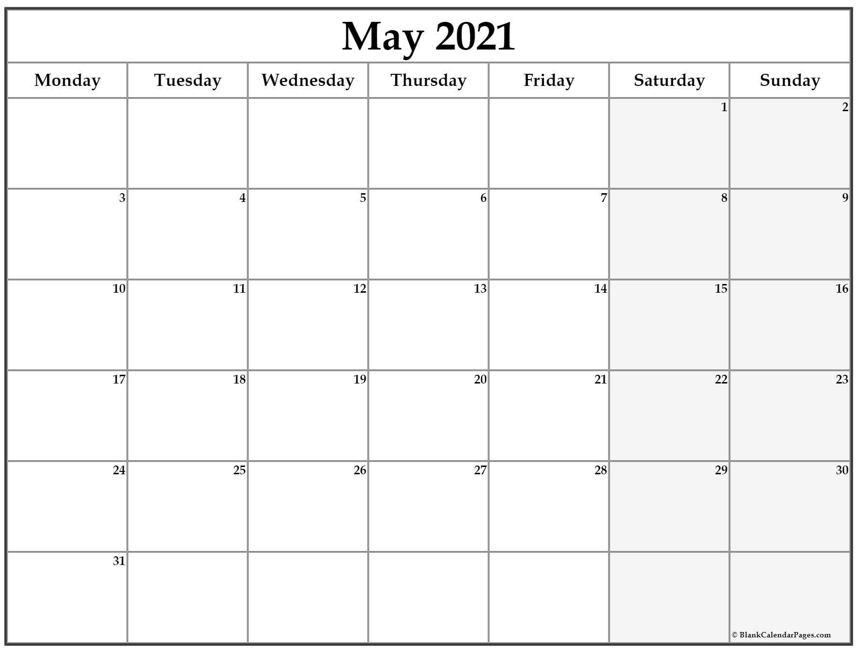 May 2021 Monday Calendar | Monday To Sunday-Sunday To Saturday Calendar 2021 Printable