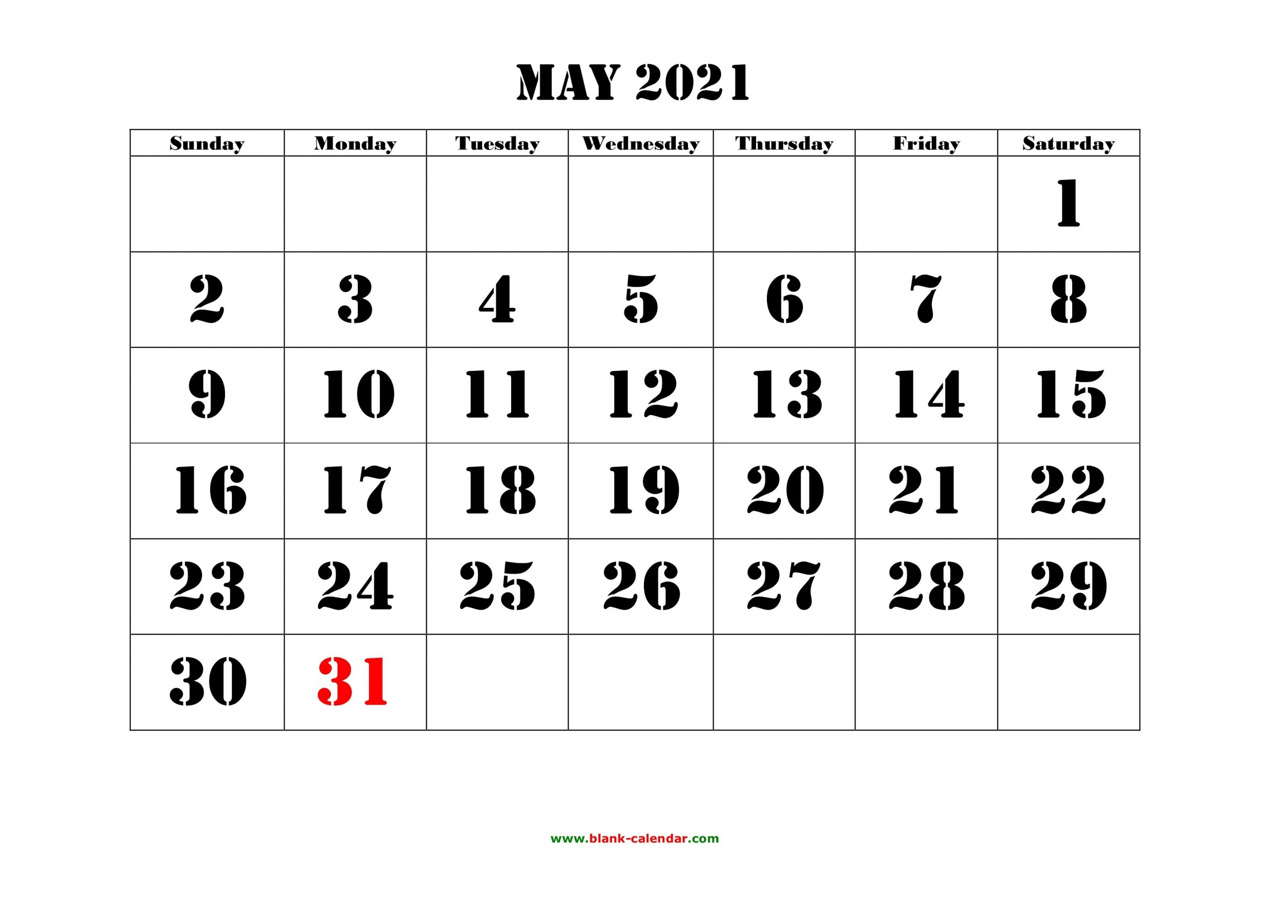 May 2021 Printable Calendar | Free Download Monthly Calendar Templates-Sepetember 2021 Calendar With Big Numbers