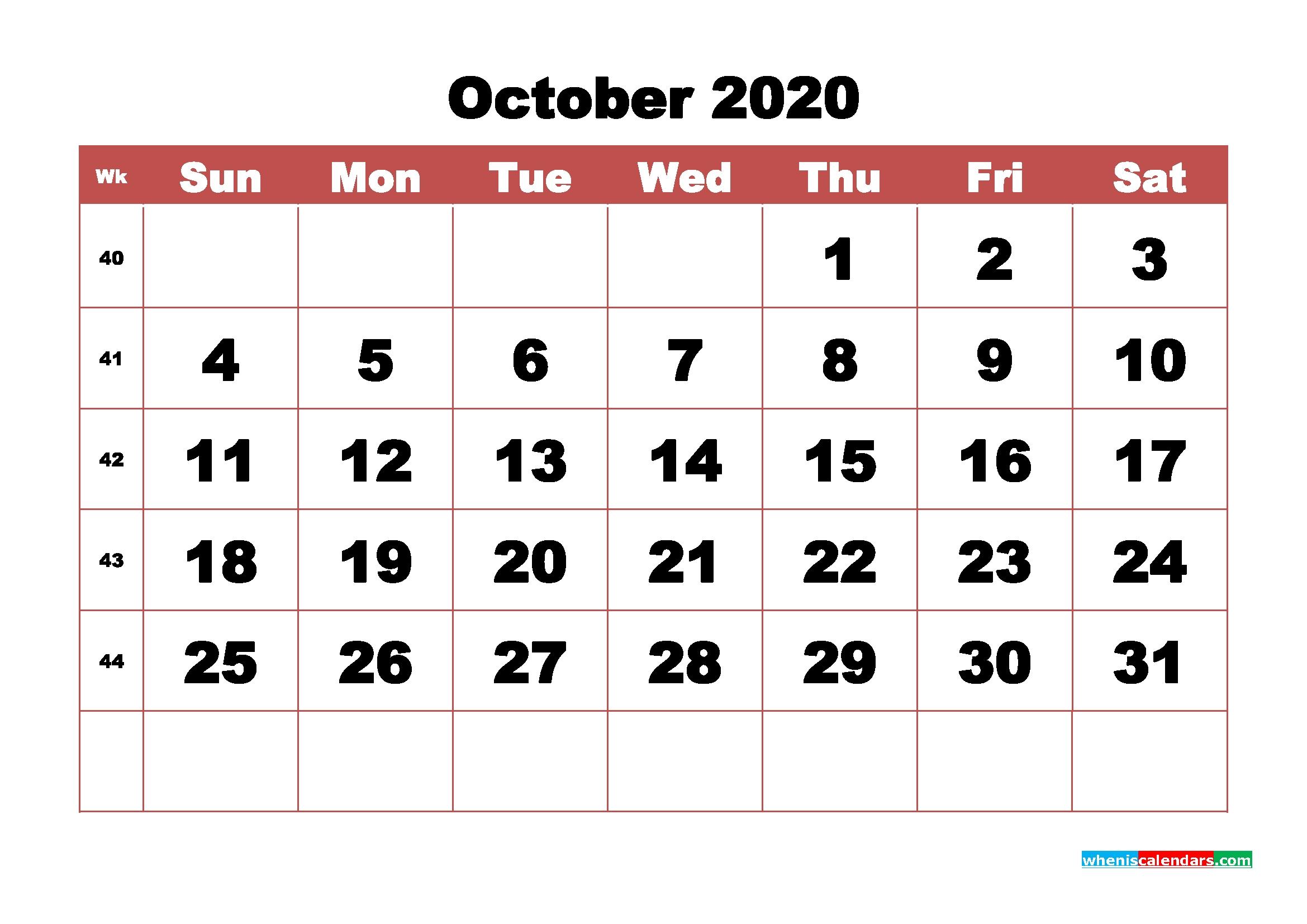 Monthly Printable Calendar 2020 October With Week Numbers | Free Printable 2020 Monthly Calendar-Large Numbers Calendar October