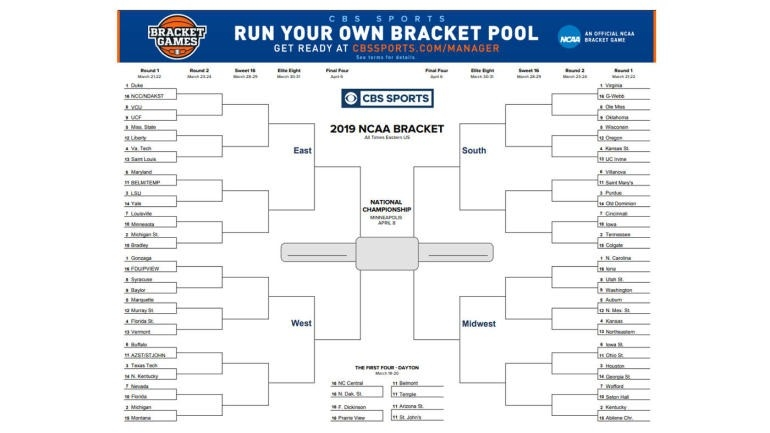 Ncaa Bracket 2019: Printable March Madness Bracket, Ncaa Tournament Predictions To Help Make-Printable Monthly Blank Calendars Showing Nfl Games