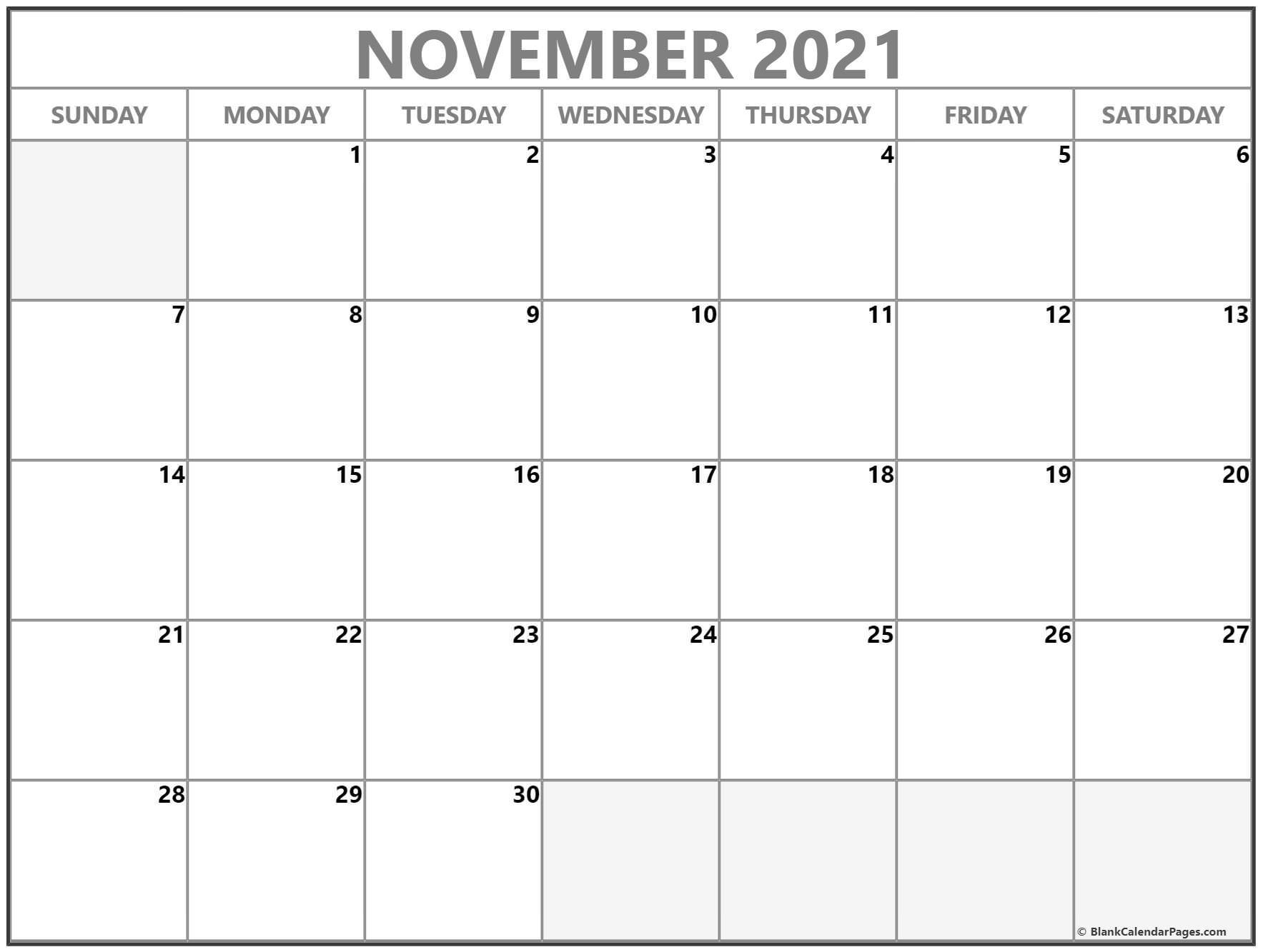 November 2021 Calendar | Free Printable Monthly Calendars-November 2021 Fill In Calendar
