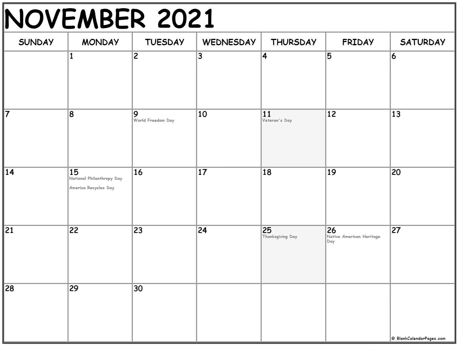 November 2021 Calendar With Holidays-Festive Printable Calendar 2021