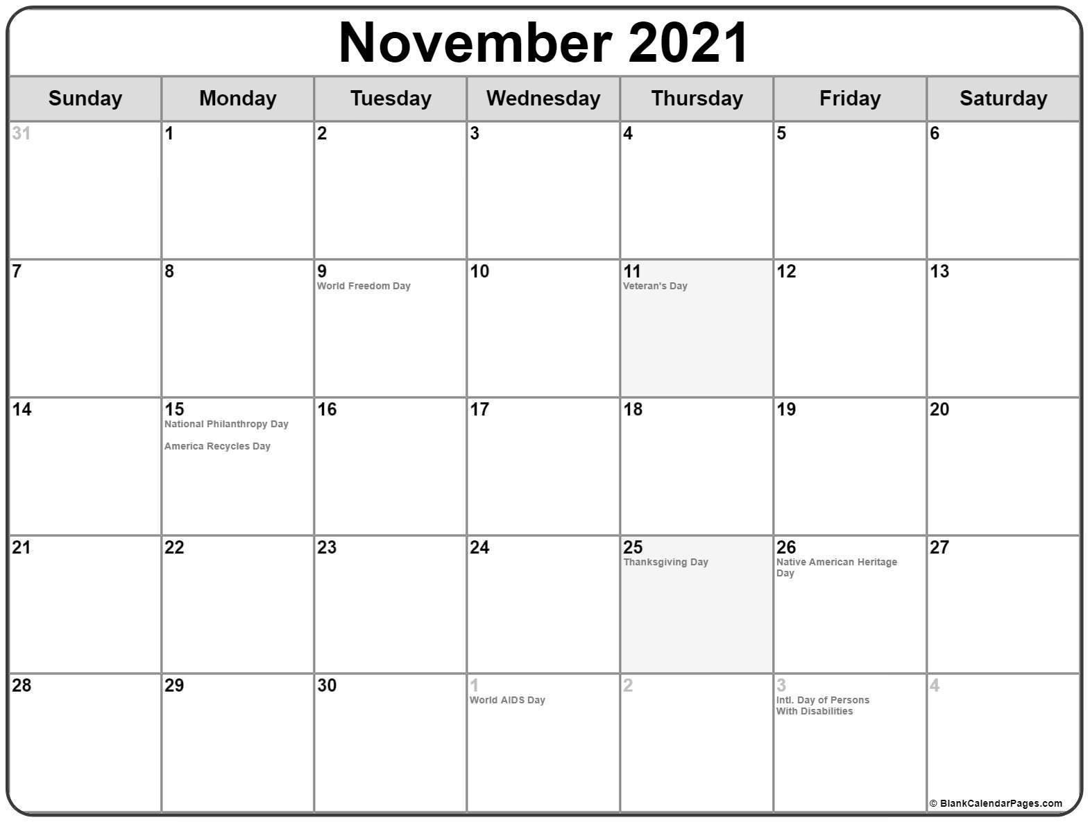 November 2021 Calendar With Holidays-November 2021 Fill In Calendar