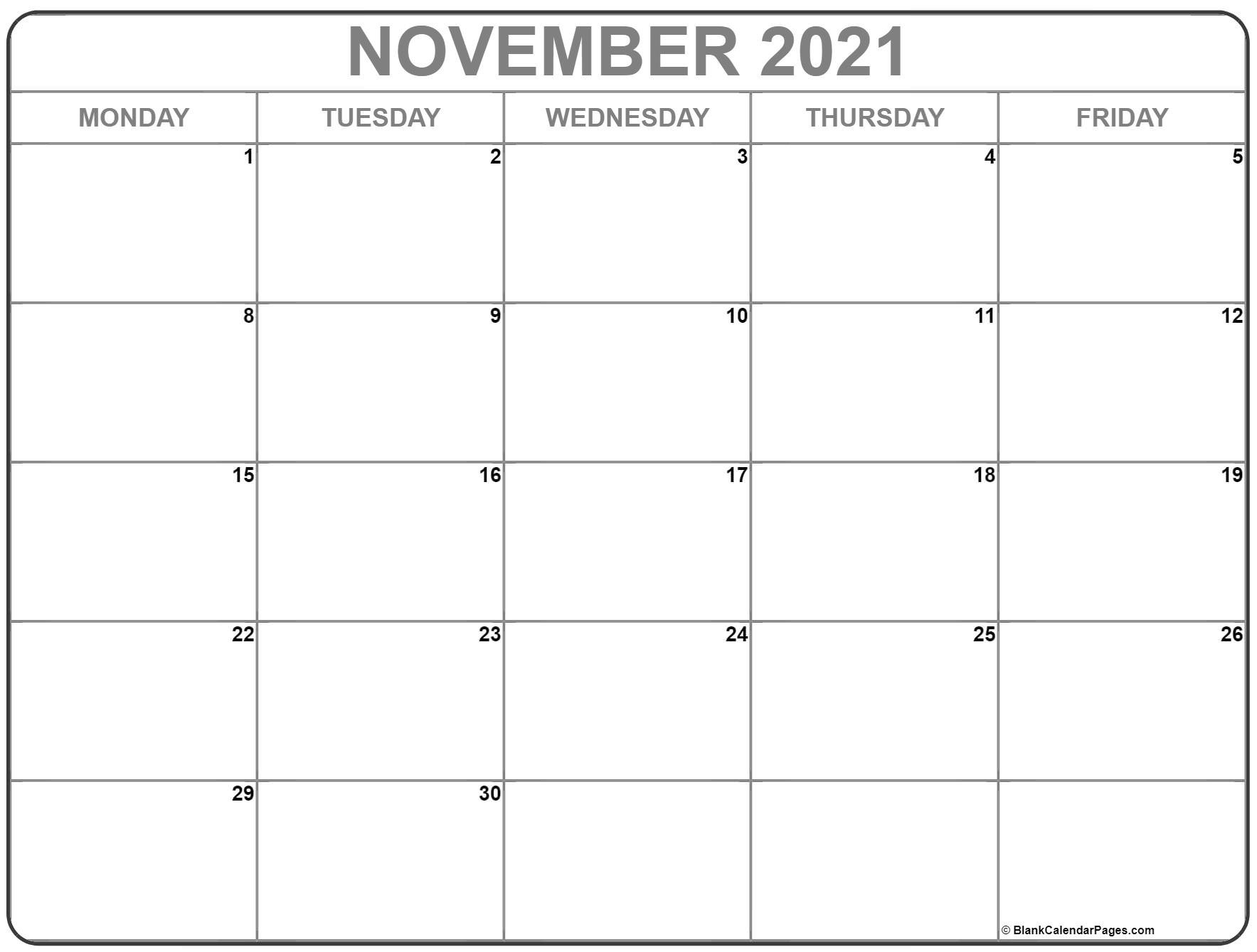 November 2021 Monday Calendar | Monday To Sunday-Sunday To Saturday Calendar 2021 Printable