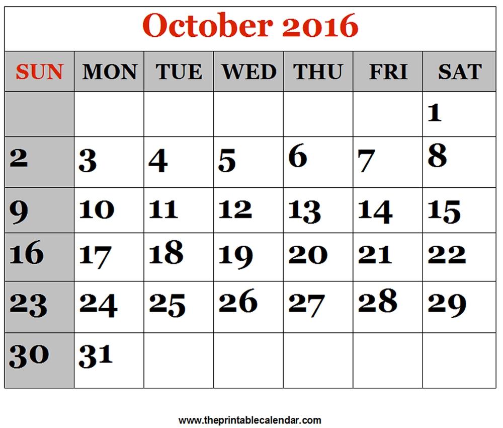 October 2016 Printable Calendars-Large Numbers Calendar October