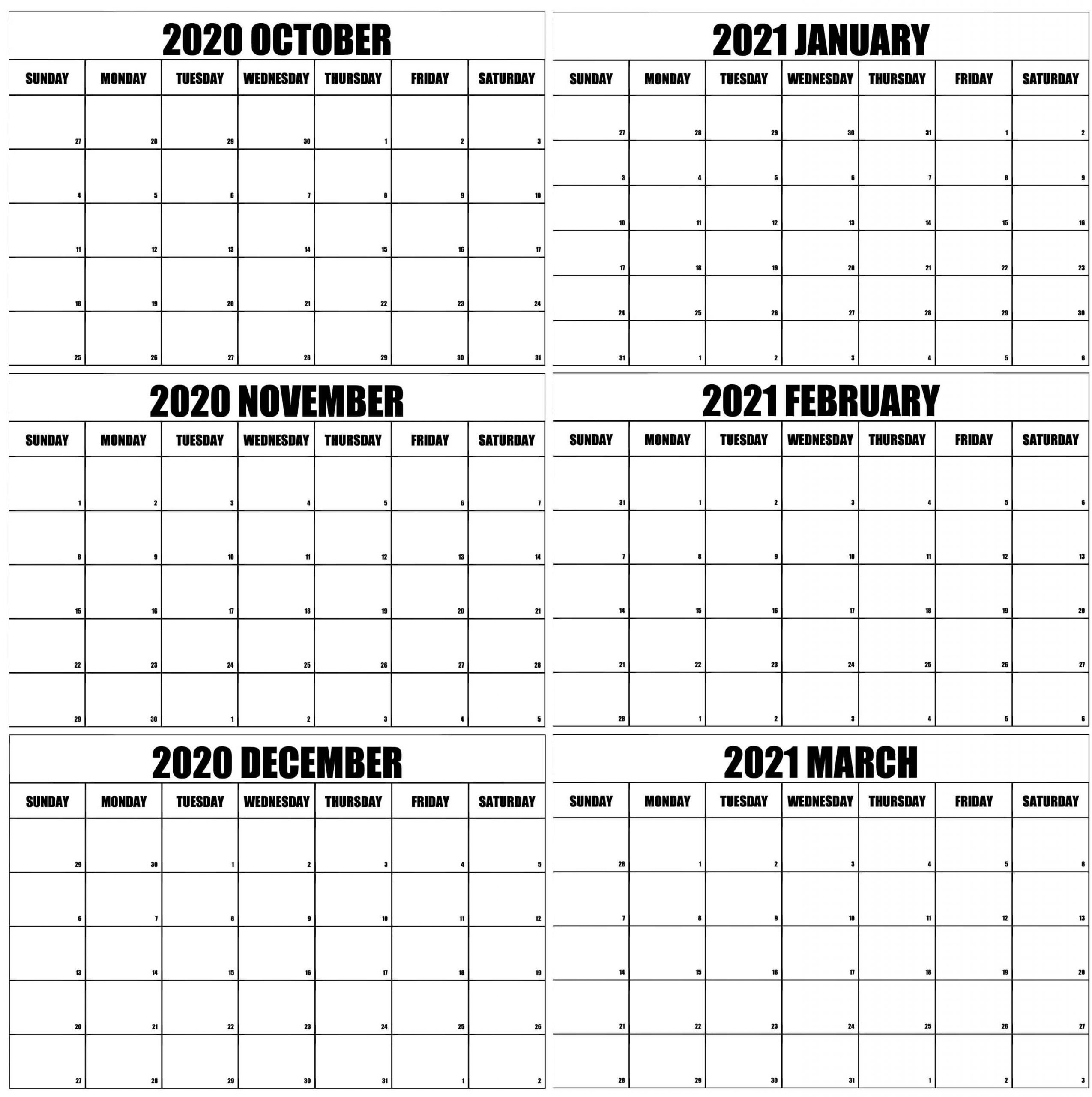 October 2020 To March 2021 Calendar Online | Free Printable Calendar Shop-Fill In Calendar Printable 2021