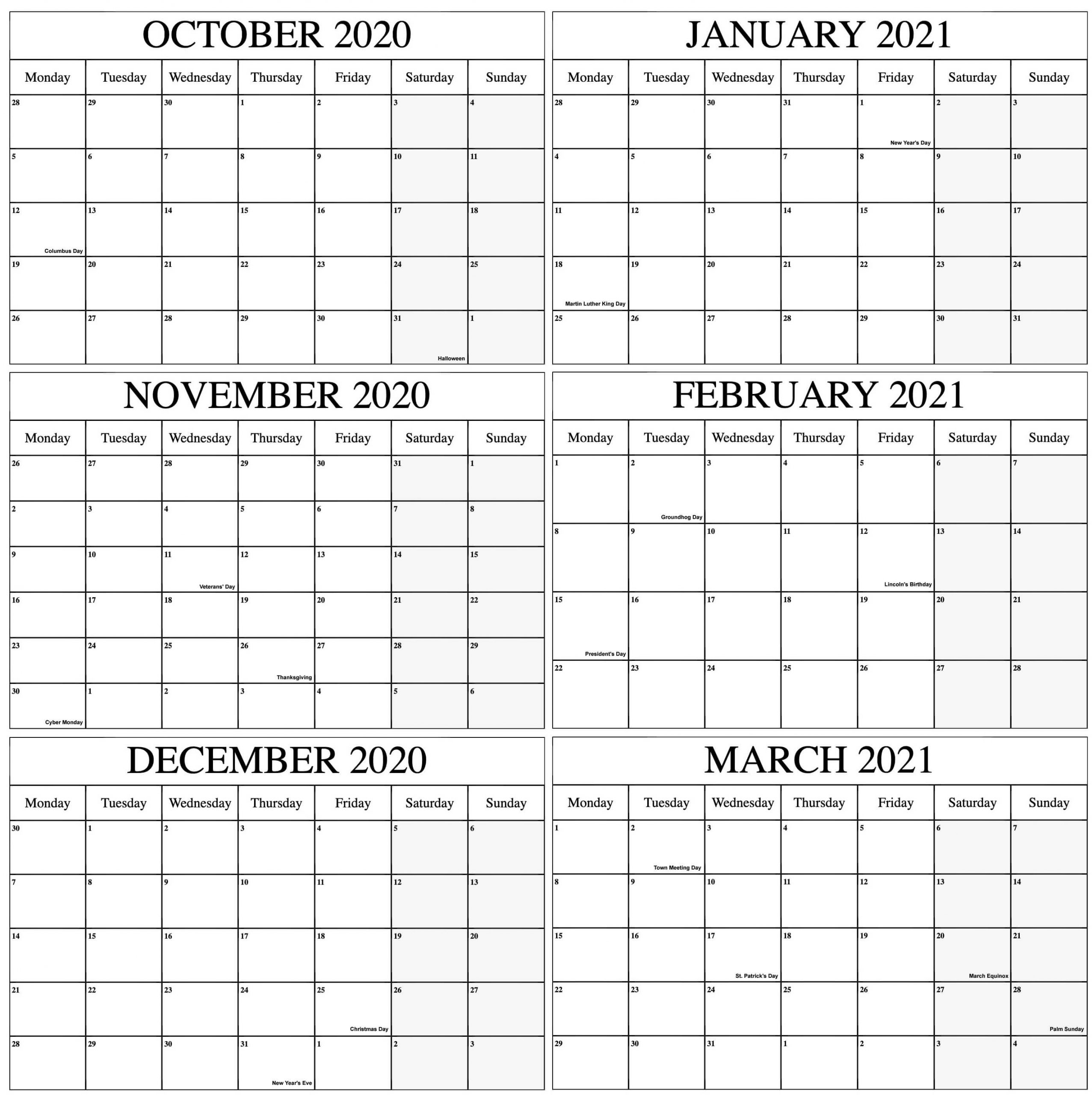 October 2020 To March 2021 Calendar Online | Free Printable Calendar Shop-Fill In The Blank 2021 Calendar With Scripture