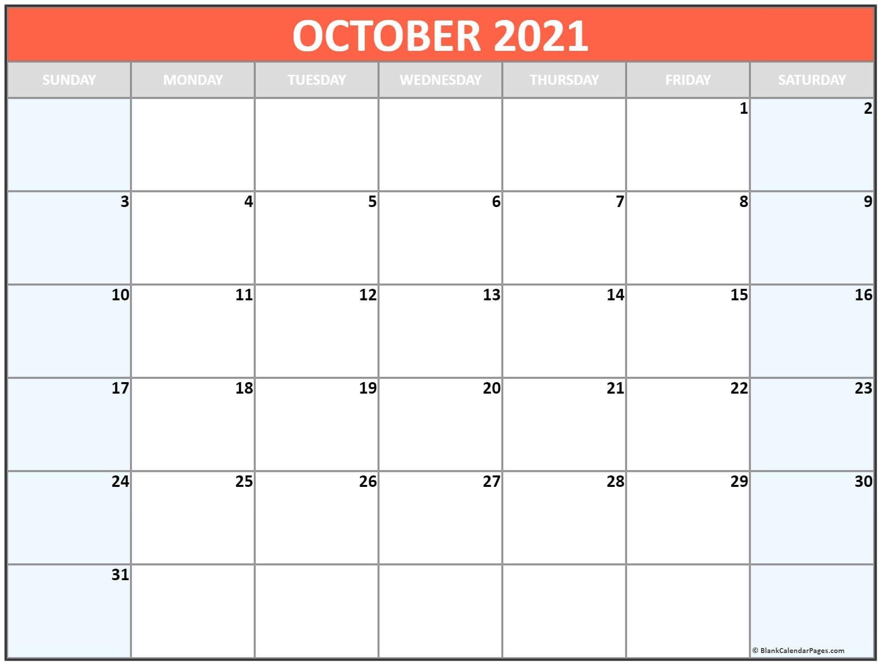 October 2021 Blank Calendar Templates.-2021 Printable Calendar From October Thru December