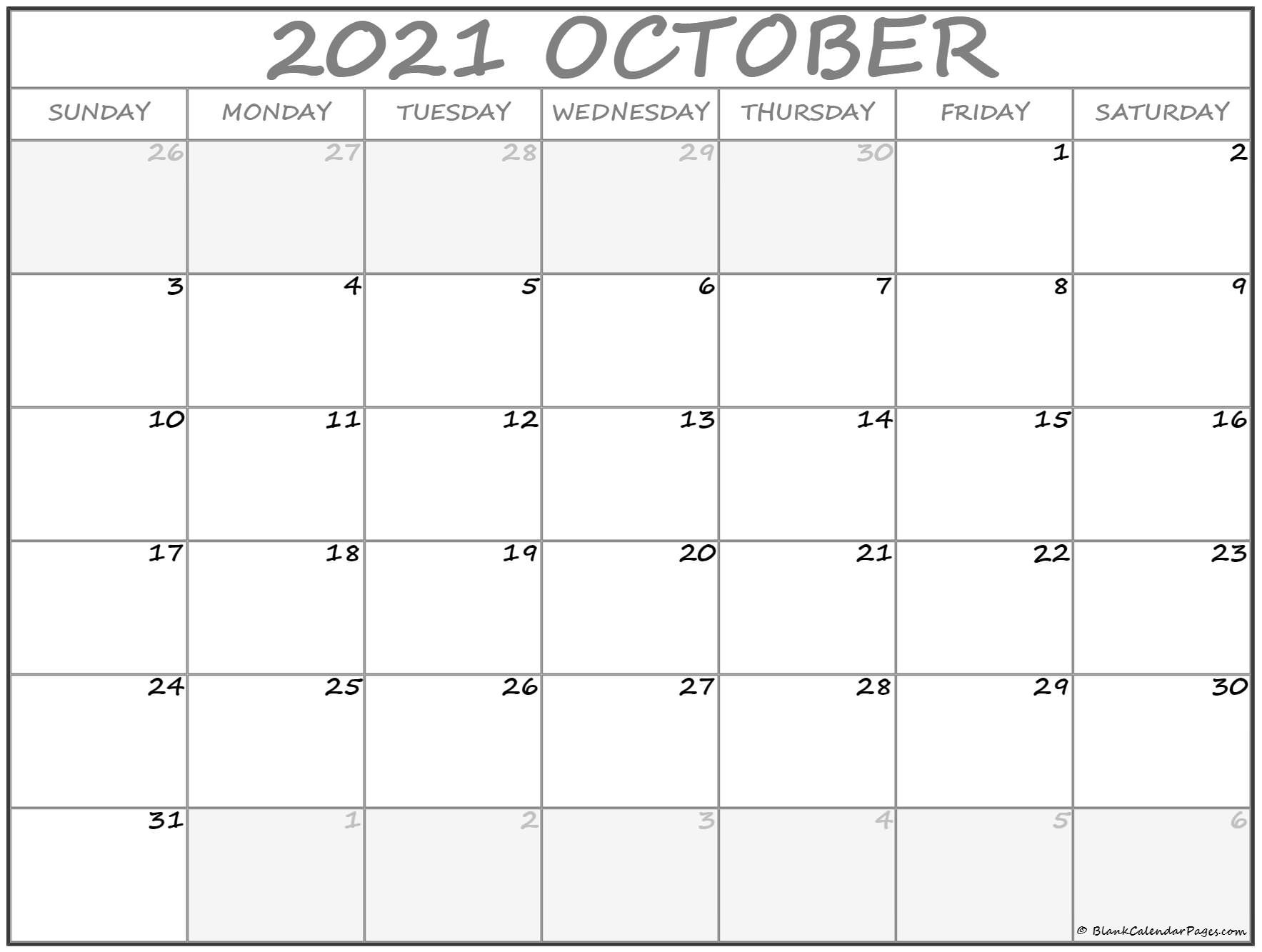 October 2021 Calendar   Free Printable Monthly Calendars-2021 Yearly Calendar With Boxes