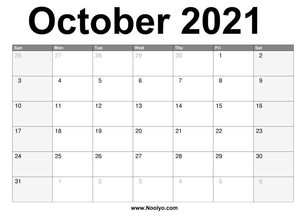 October 2021 Calendar Printable – Free Download – Noolyo-Monthly Calendar Printable October 2021