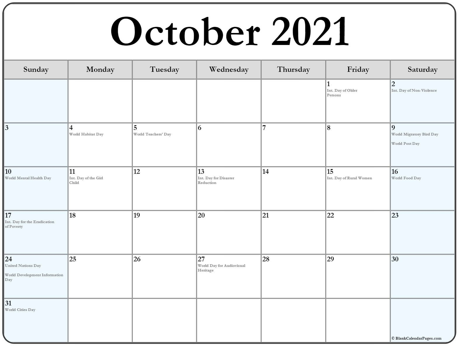 October 2021 Calendar With Holidays-Monthly Calendar Printable October 2021