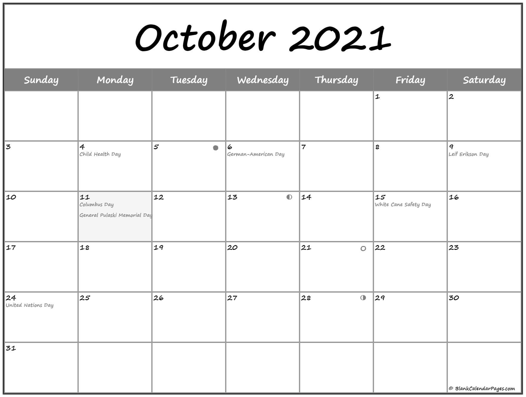 October 2021 Lunar Calendar | Moon Phase Calendar-2021 4 Shift Calendar