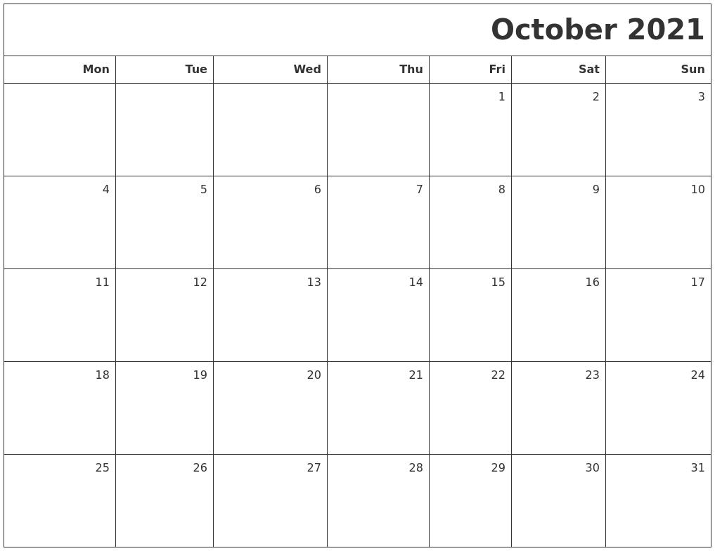 October 2021 Printable Blank Calendar-Monthly Calendar Printable October 2021