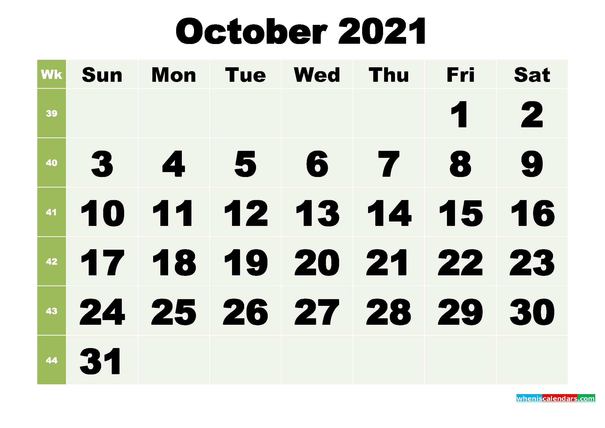 October 2021 Printable Calendar Template – Free Printable 2020 Monthly Calendar With Holidays-Monthly Calendar Printable October 2021