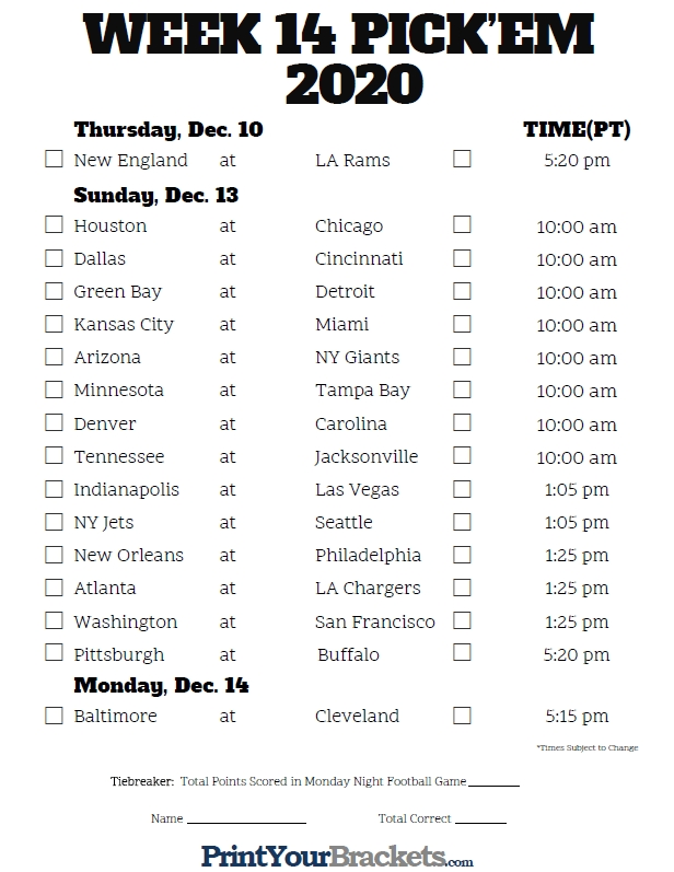 Pacific Time Week 14 Nfl Schedule 2020 - Printable-1 Page Printable Nfl Schedule