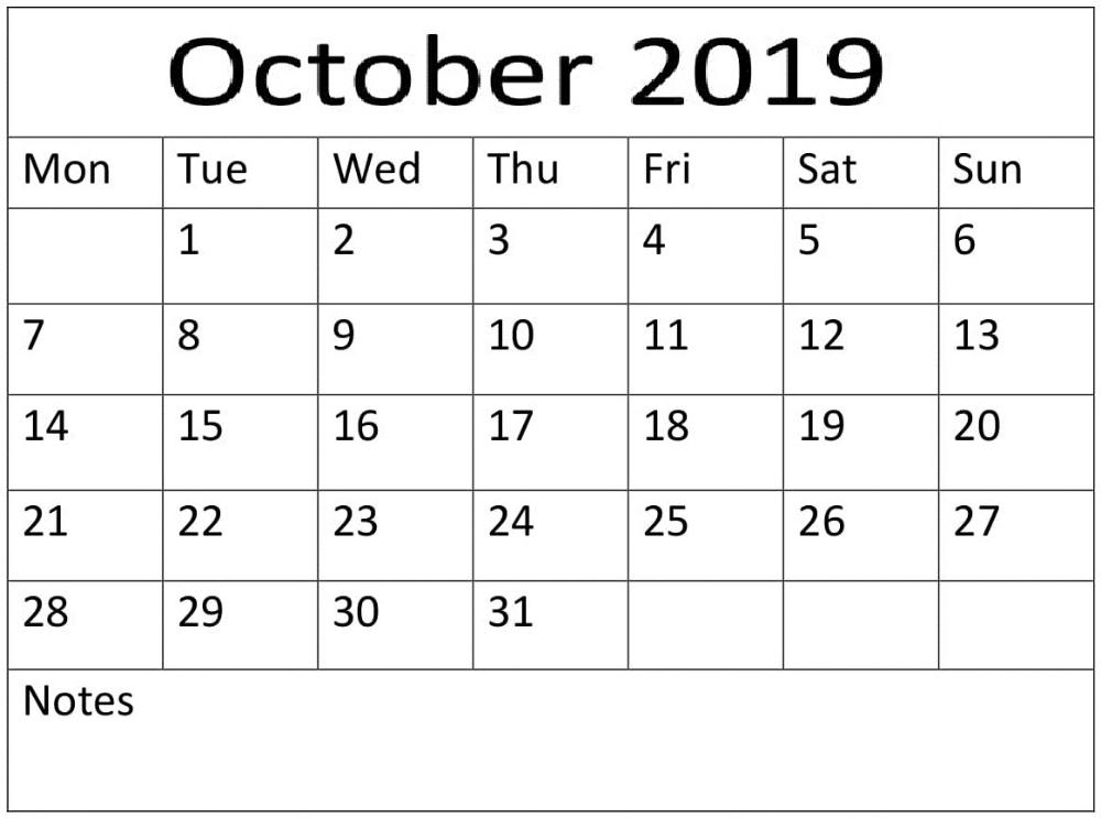 Print October 2019 Blank Number Calendar | Small Calendar, Blank Calendar, Calendar-Large Numbers Calendar October