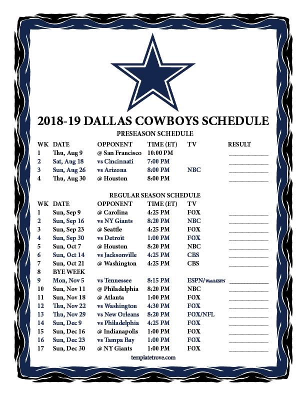 Printable 2018-2019 Dallas Cowboys Schedule-Free Nfl Schedule Printable