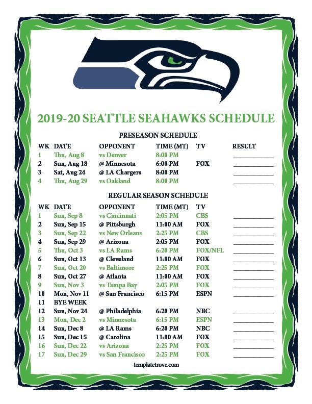 Printable 2019-2020 Seattle Seahawks Schedule-Free Nfl Schedule Printable