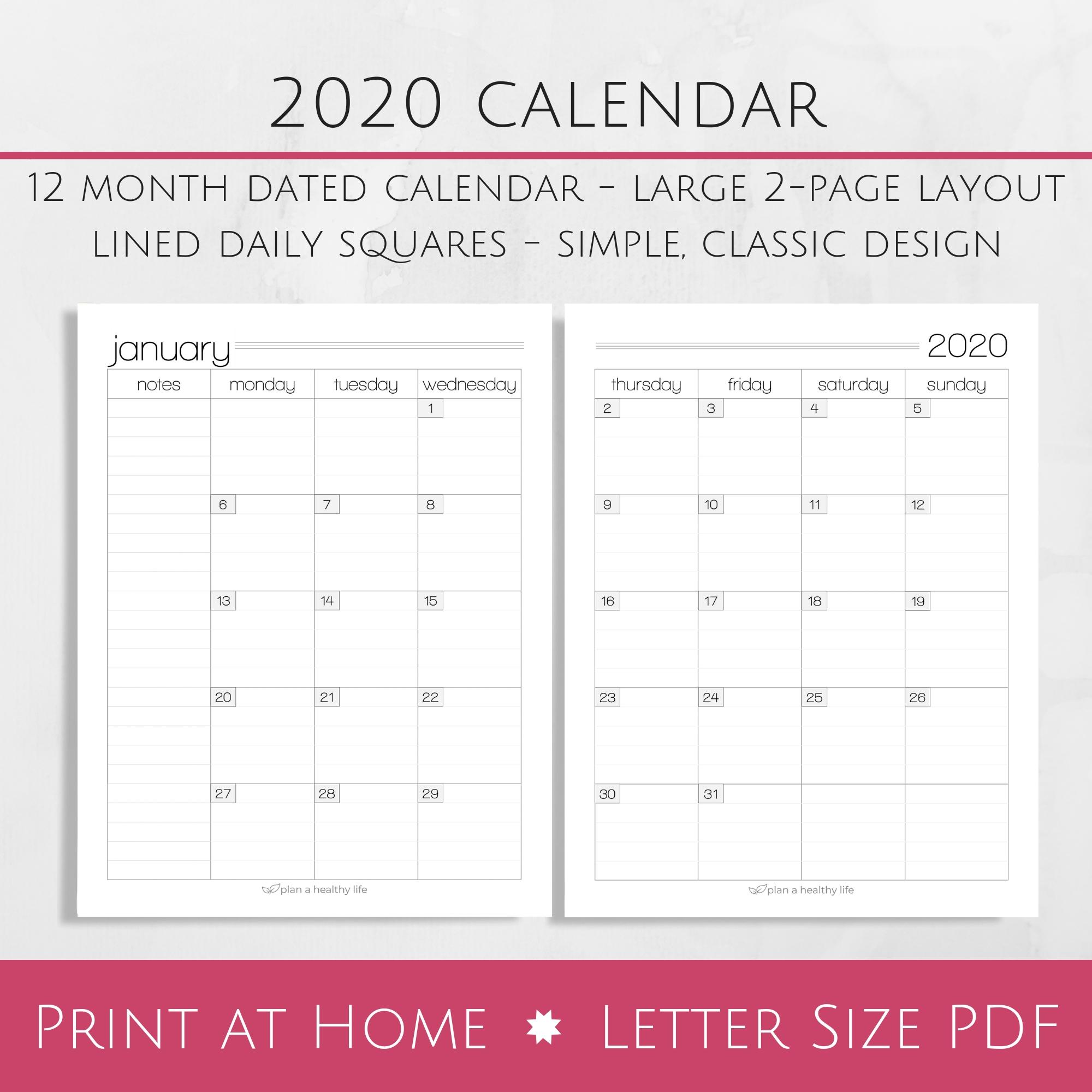 Printable 8.5 X 11 2020 Calendar | Calendar Template Printable Monthly Yearly-8.5 X 11 Calendar Print