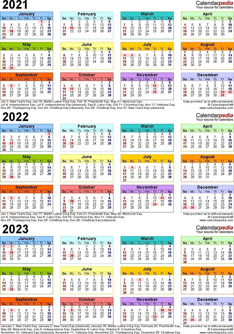 Printable Calendar For 2019/2020/2021/2022/2023 - Calendar Inspiration Design-3 Year Calendar 2021 To 2023