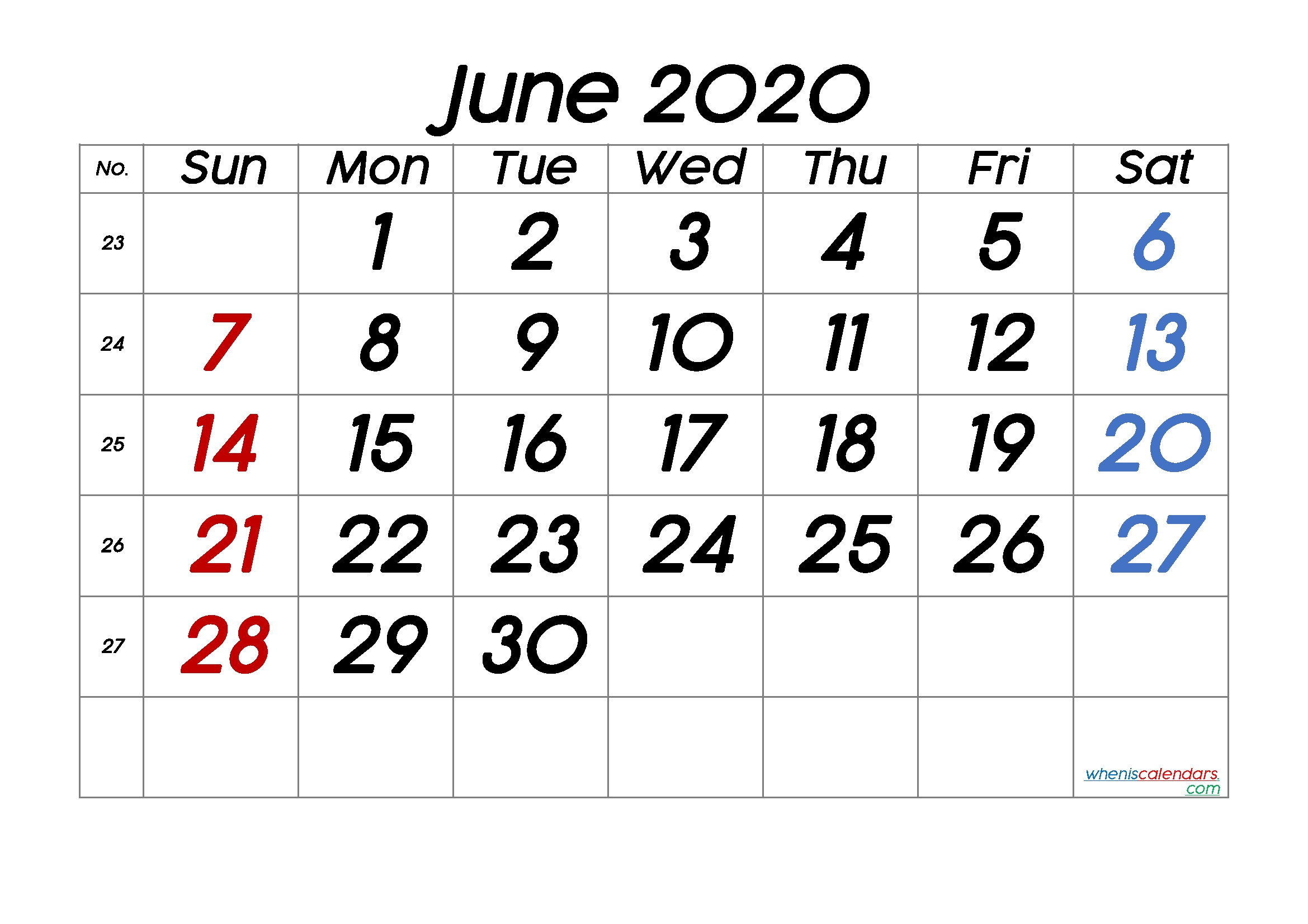 Printable Calendar June 2020 [Free Premium] In 2020 | June Calendar Printable, Printable-Sepetember 2021 Calendar With Big Numbers