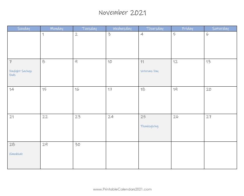 Printable Calendar November 2021, Printable 2021 Calendar With Holidays-November 2021 Fill In Calendar