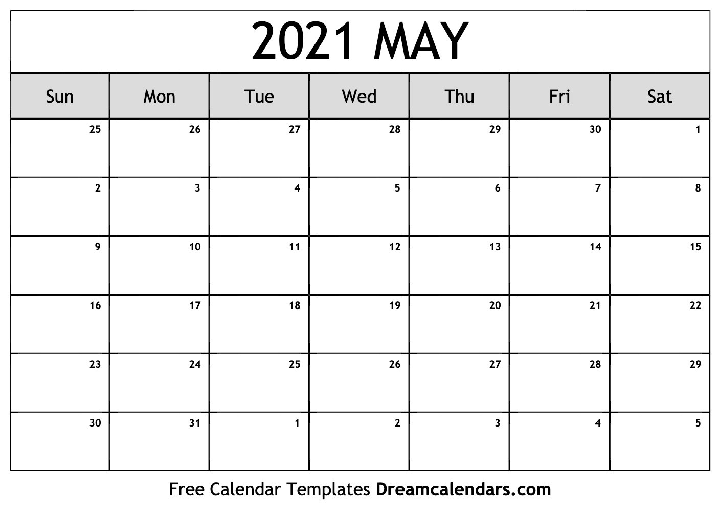 Printable May 2021 Calendar-2021 Print Free Calendars Without Downloading