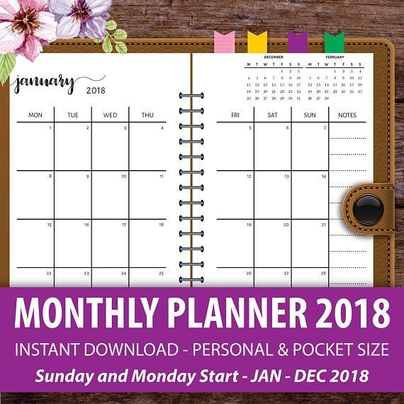 Printable Monthly Planner 2018, Monthly Calendar Planner, Filofax Personal, Personal Size-Pocket Calendar Free Online