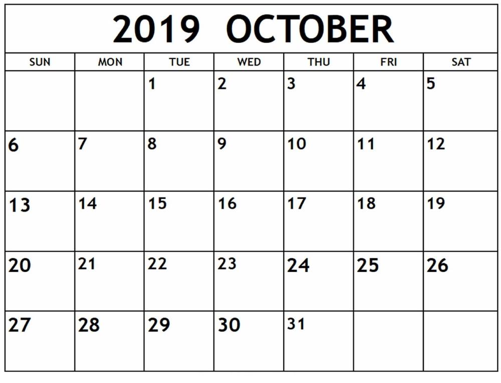 Printable October 2019 Calendar By Week Numbers | Calendar Printables, Printable Calendar July-Large Numbers Calendar October