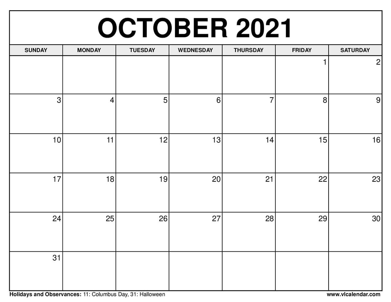 Printable October 2020 Calendars-2021 Printable Calendar From October Thru December