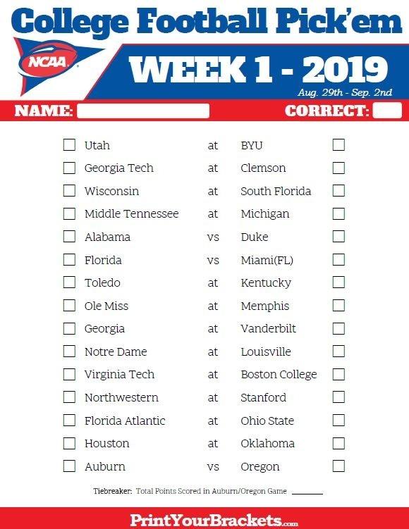 Printable Week 1 College Football Pick'Em Sheets - 2019 | College Football, Football, Football Picks-1 Page Printable Nfl Schedule