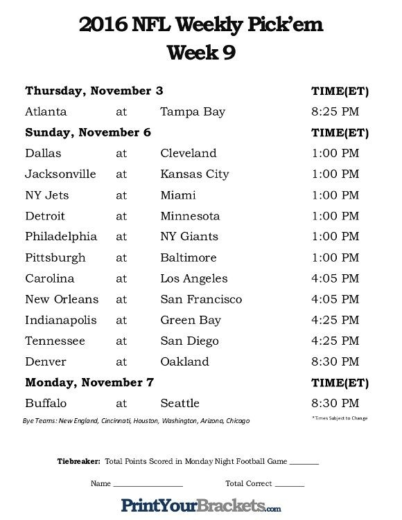 Printable Week 9 Nfl Schedule Pick Em Sheets | Mission Statement Examples, Medical Business Card-1 Page Printable Nfl Schedule