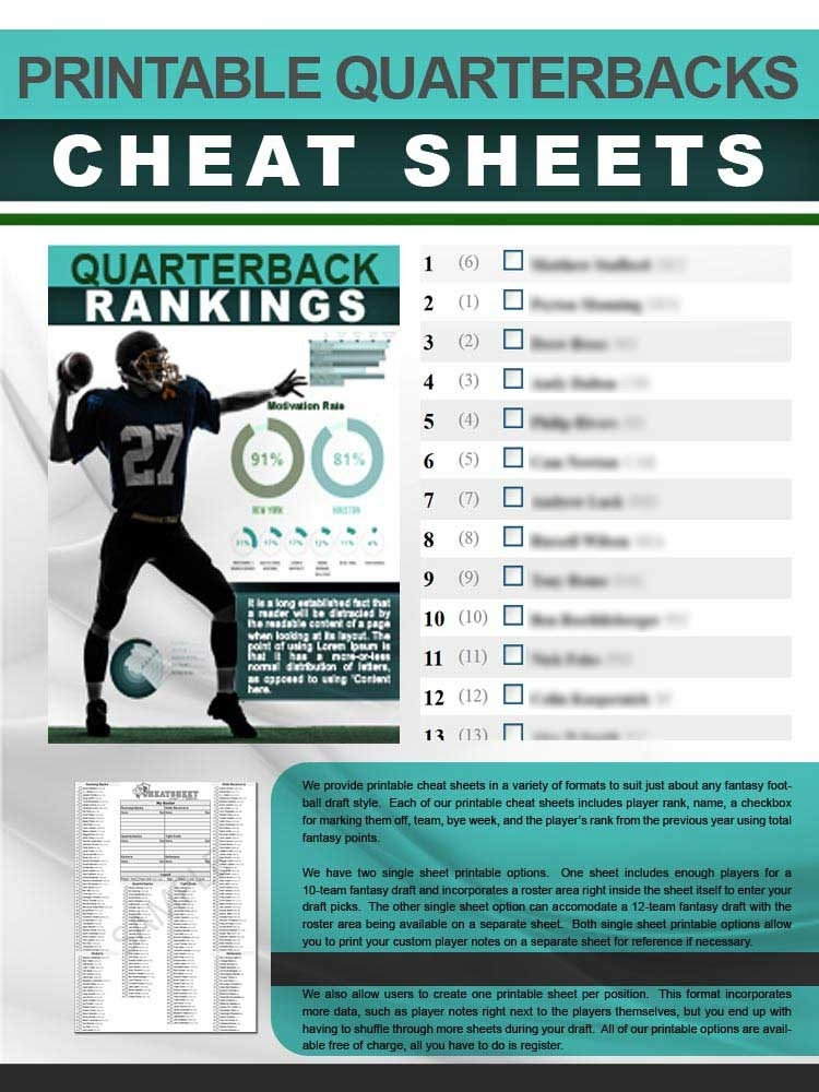 Quarterbacks Cheat Sheet In Printable Format For 2020-1 Page Printable Nfl Schedule