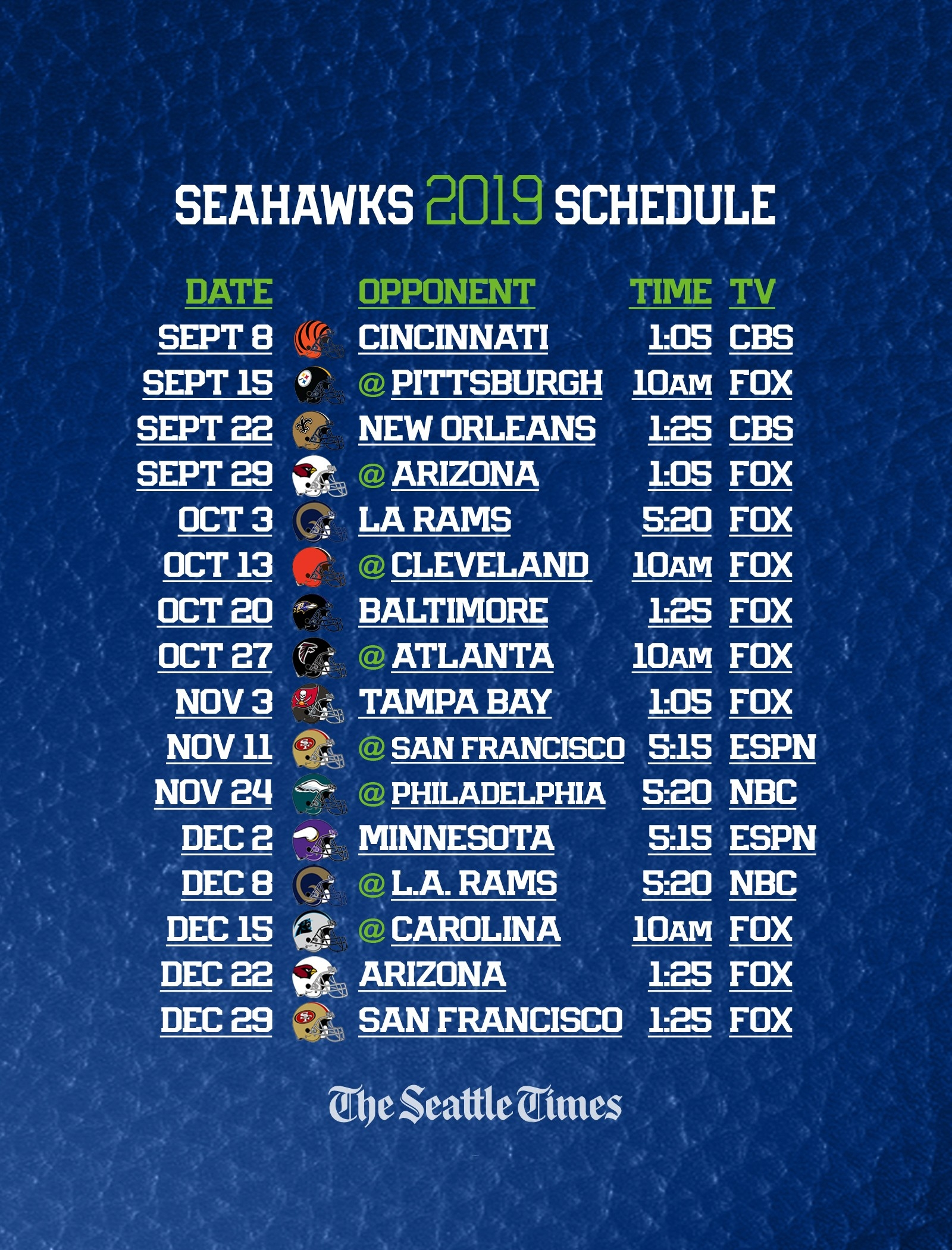 Seahawks 2019 Regular-Season Schedule Is Set — Seattle Will Get Five Prime-Time Games | The-Free Printable Nfl Schedule 2021