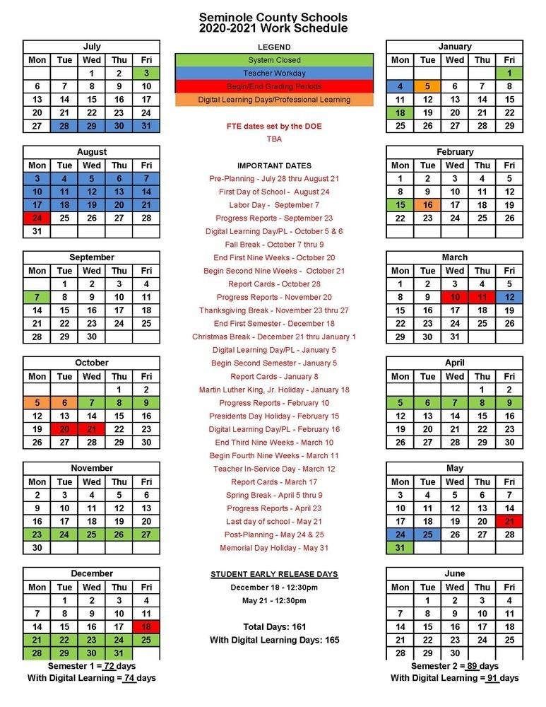 Seminole County School System-2021 4 Shift Calendar