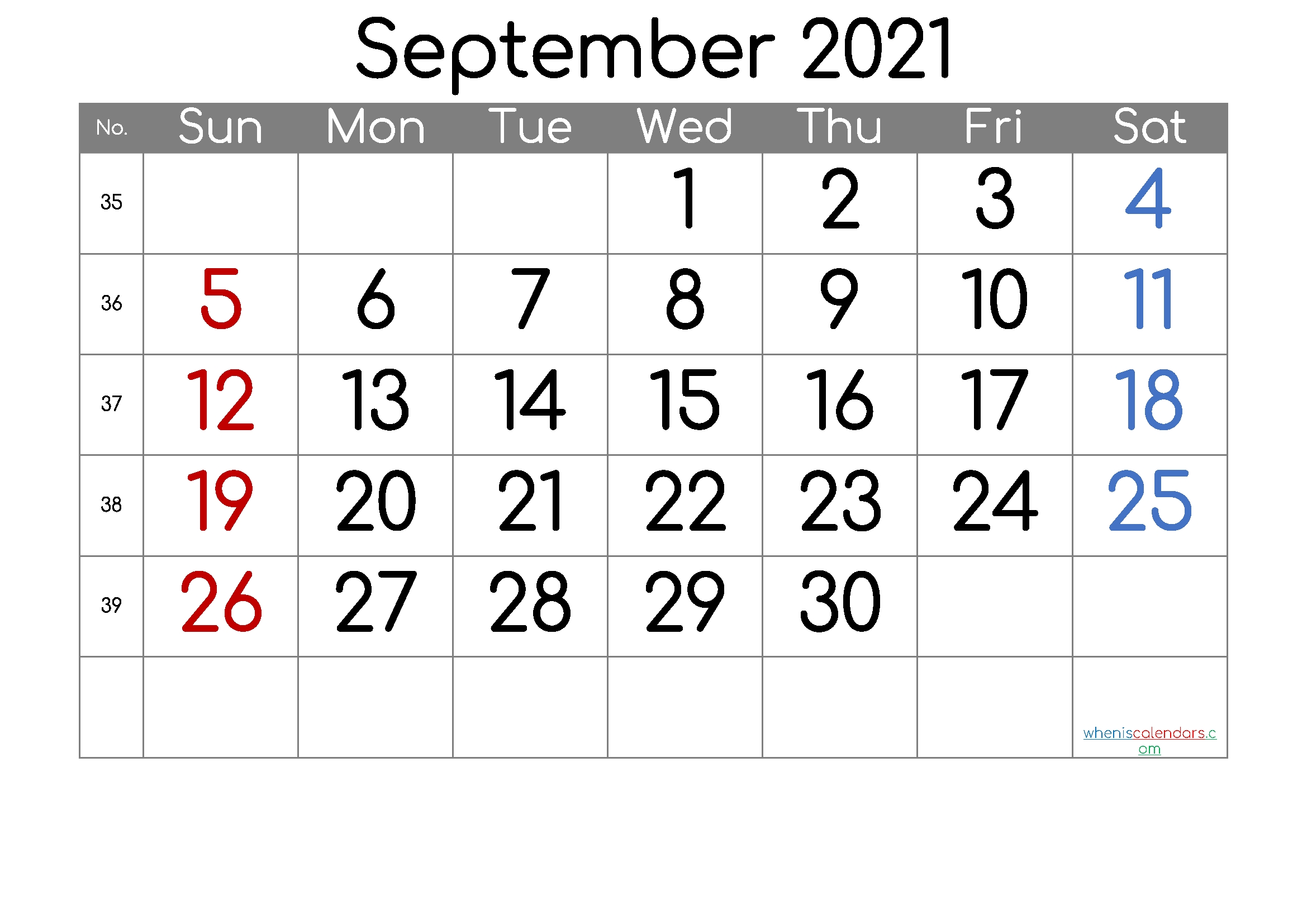 September 2021 Printable Calendar [Free Premium] In 2020 | Calendar With Week Numbers, Printable-Sepetember 2021 Calendar With Big Numbers