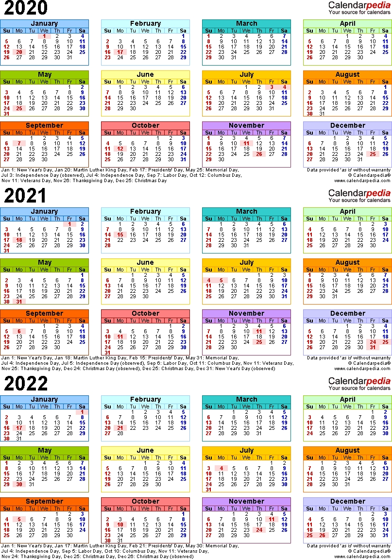 Template 3: Word Template For Three Year Calendar 2020-2022 (Portrait Orientation, 1 Page-3 Year Calendar 2021