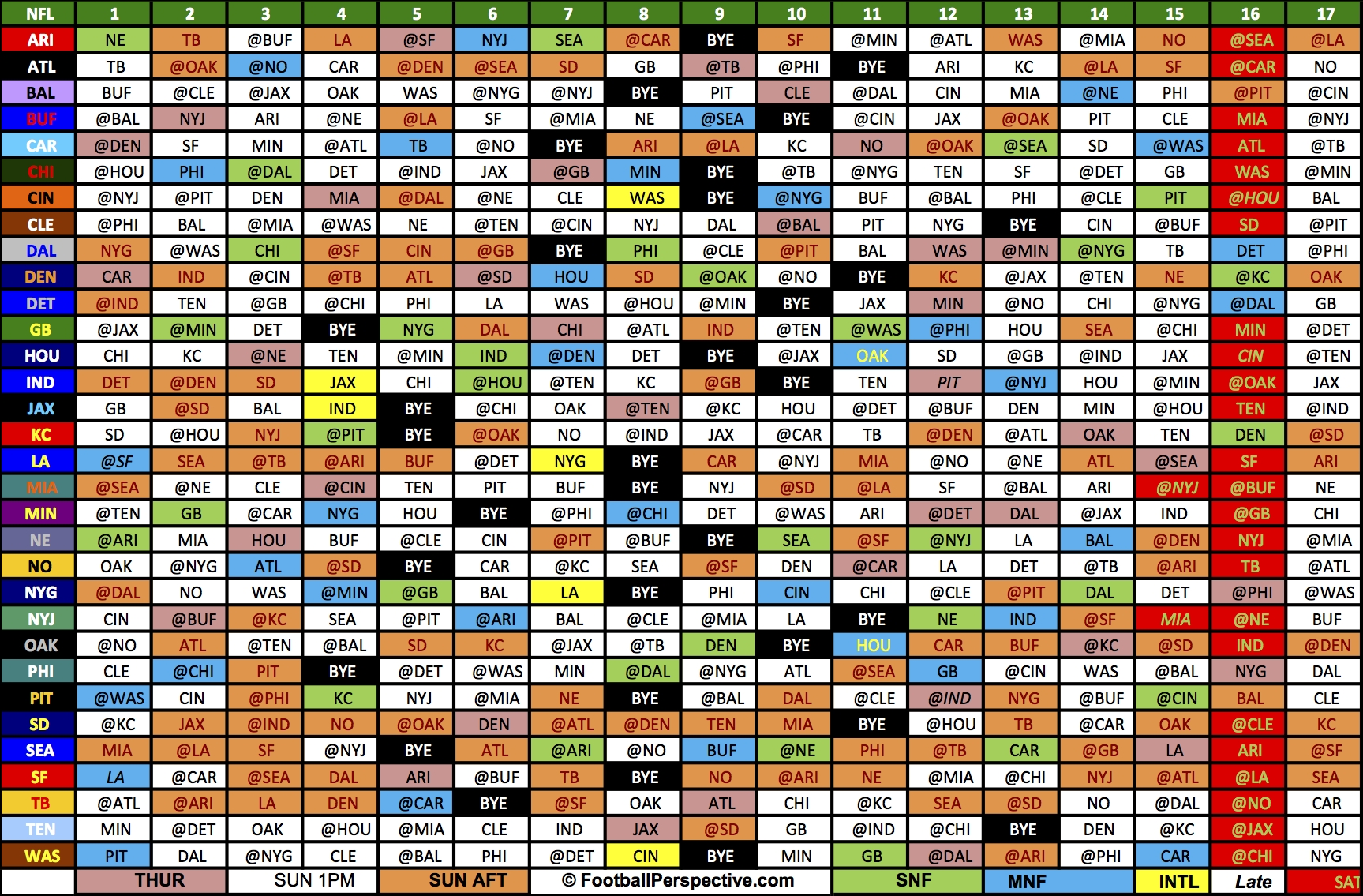 The 2016 Nfl Schedule-1 Page Printable Nfl Schedule