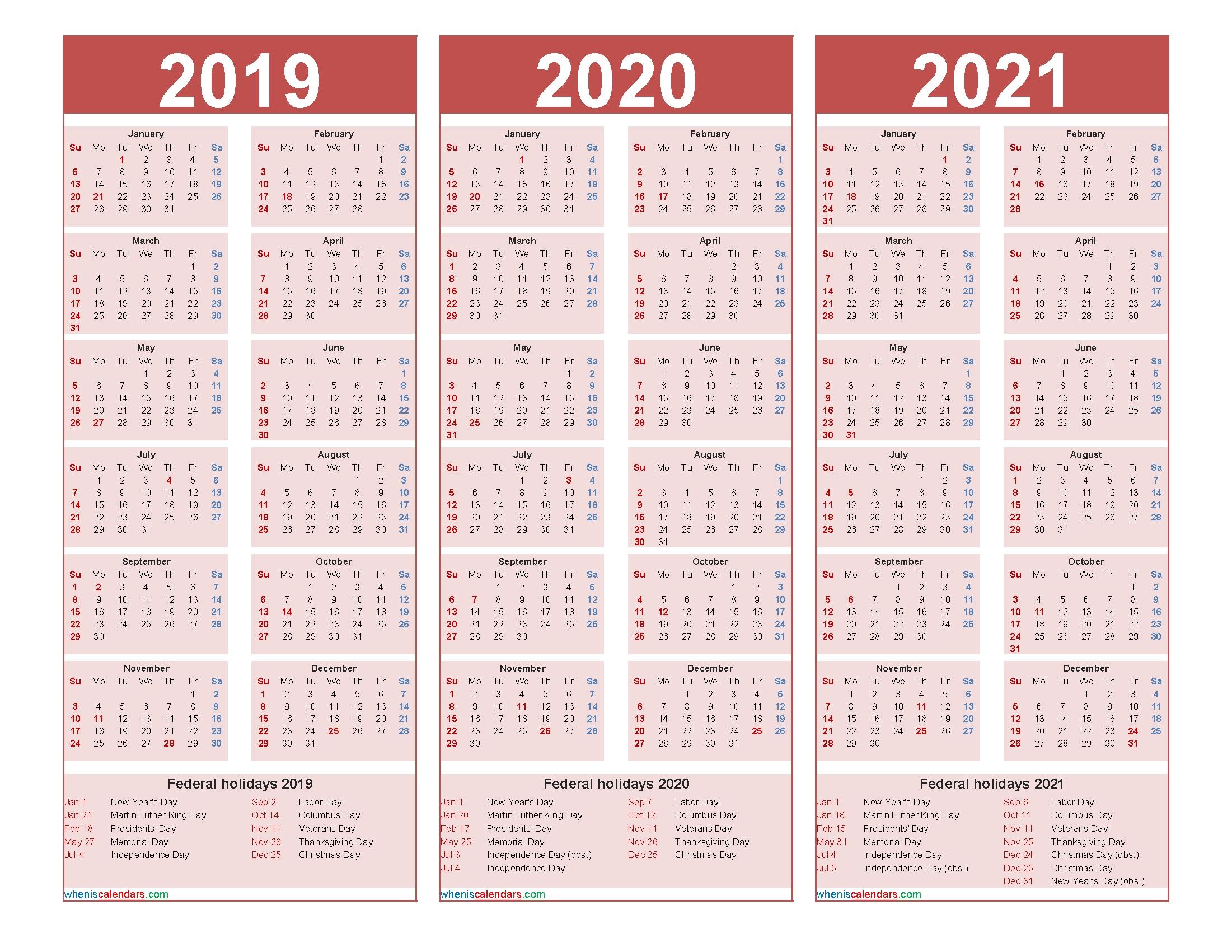 Three Year 2019 To 2021 Calendar Printable Word, Pdf   Free Printable 2020 Monthly Calendar With-3 Year Calendar 2021