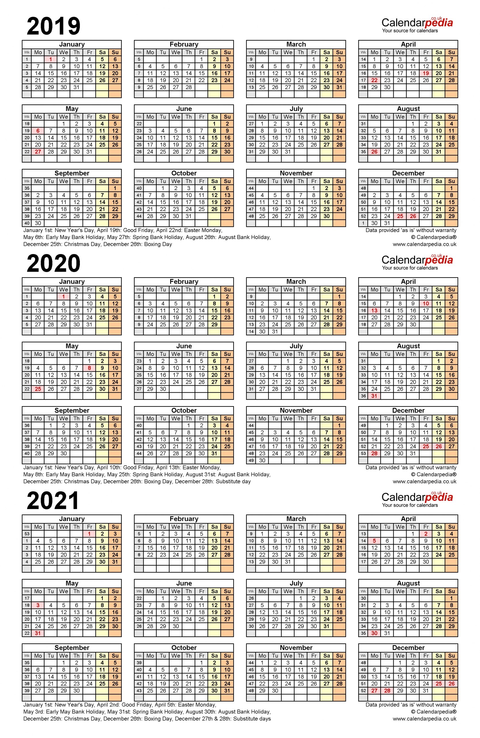 Three Year Calendars For 2019, 2020 & 2021 (Uk) For Pdf-3 Year Calendar 2021