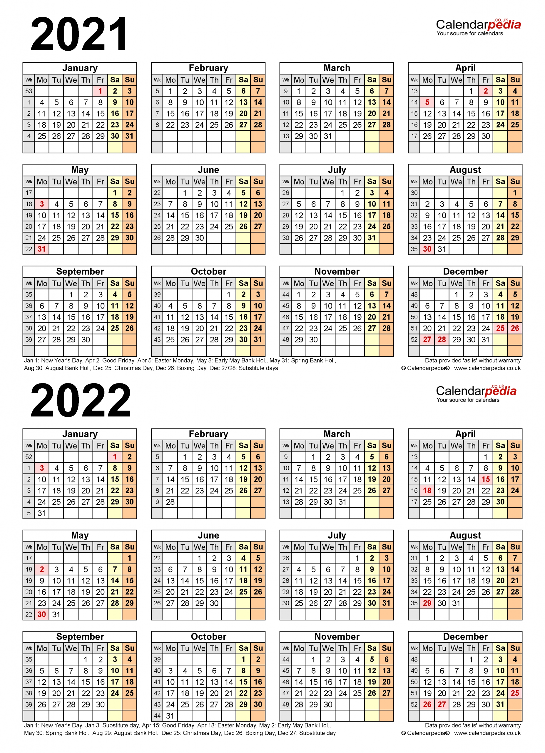 Two Year Calendars For 2021 & 2022 (Uk) For Pdf-Large Number Flip Calendar 2021