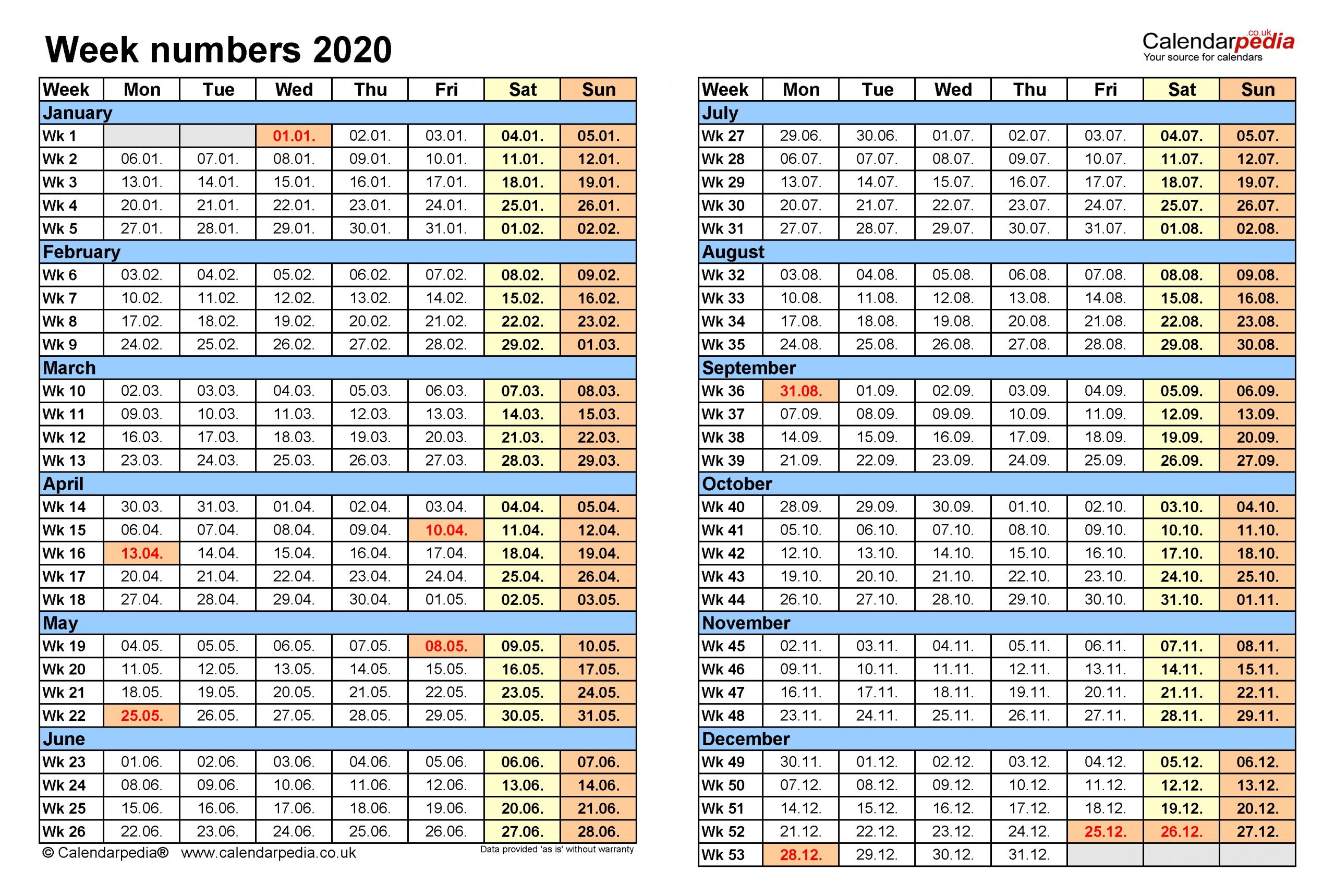 Week Numbers 2020 With Excel, Word And Pdf Templates-Yearly Week Number Calendar Excel0.
