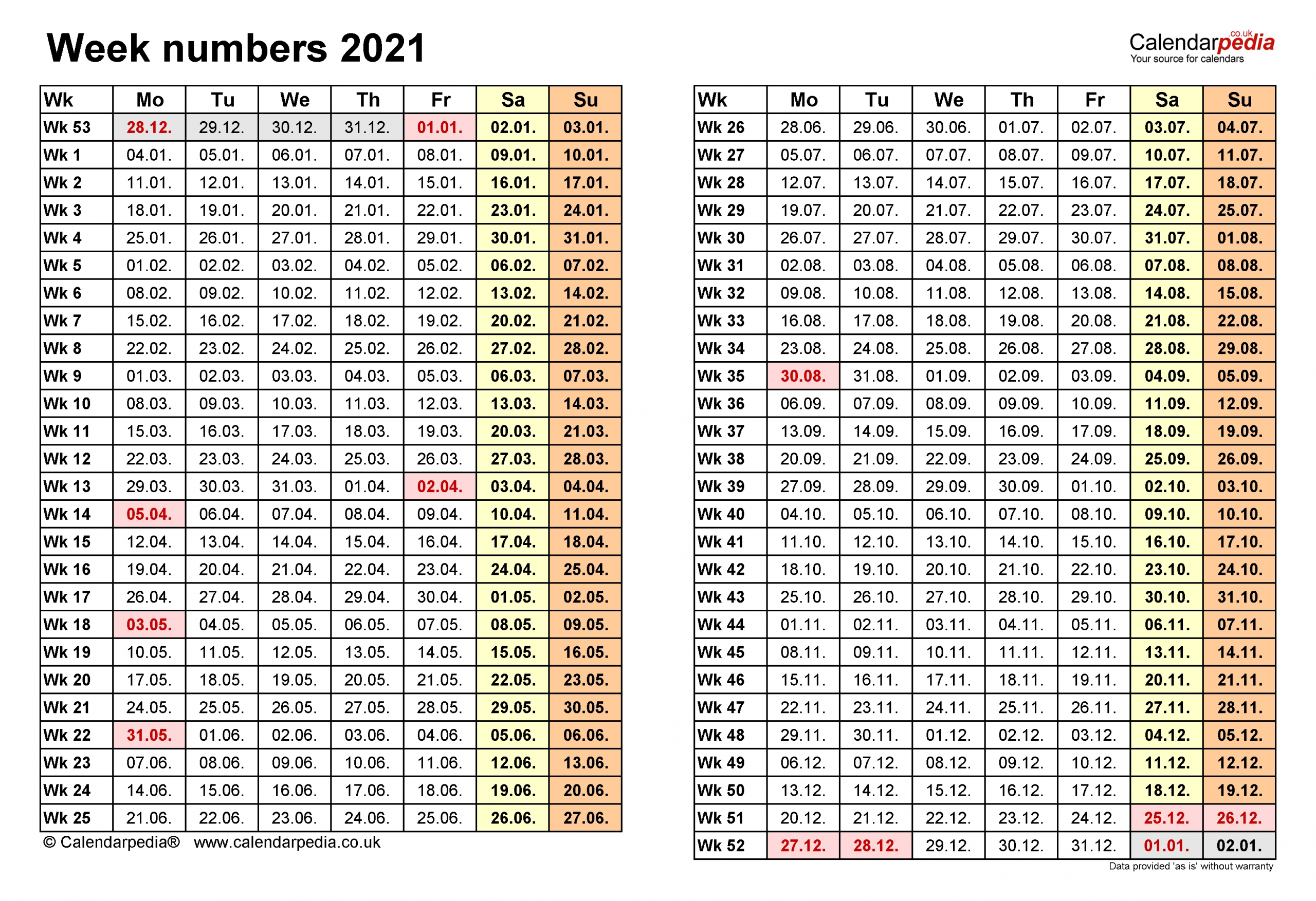 Week Numbers 2021 With Excel, Word And Pdf Templates-2021 Calnder By Week No Excel
