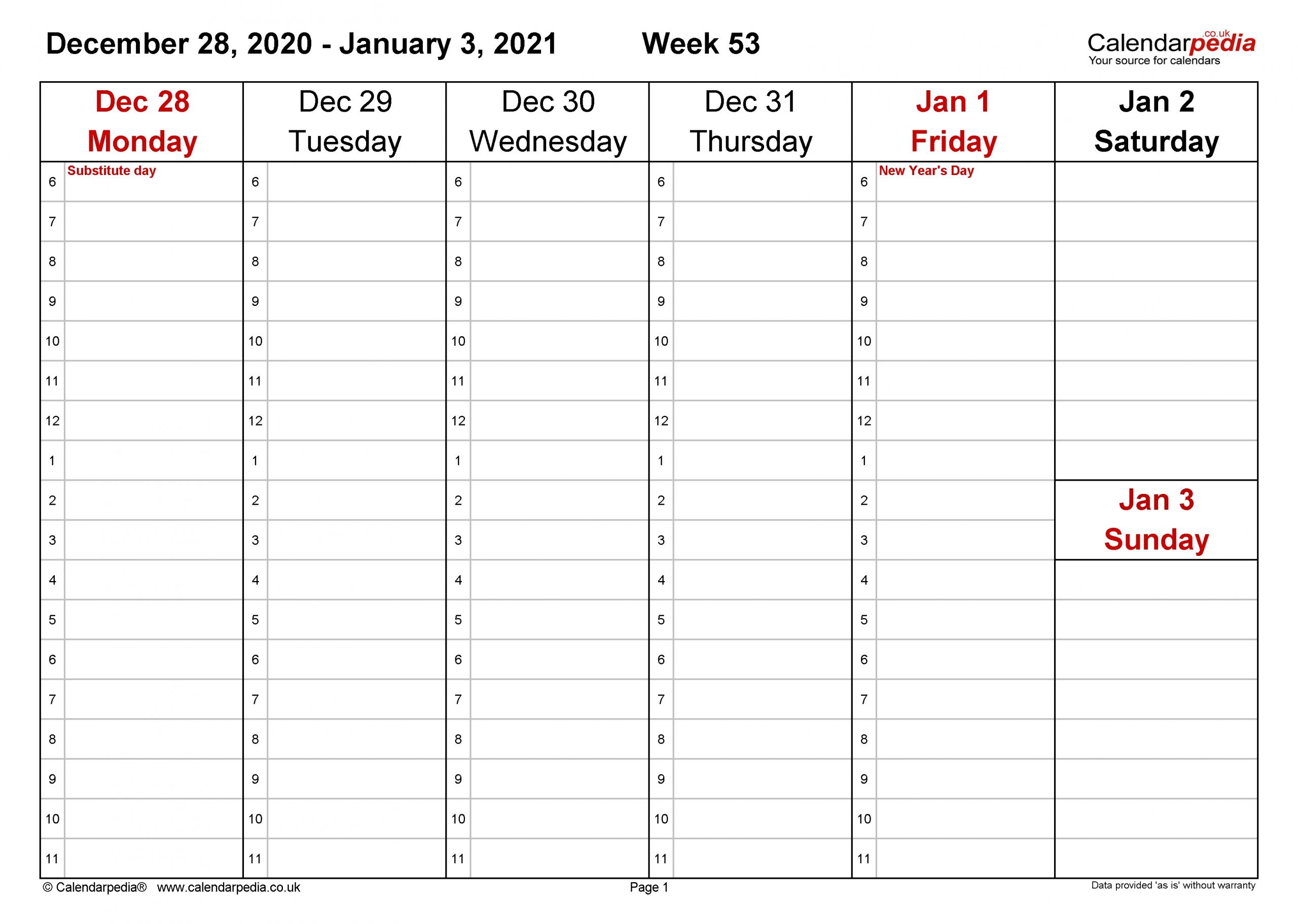 Weekly Calendar 2021 Uk - Free Printable Templates For Excel-2021 Calnder By Week No Excel