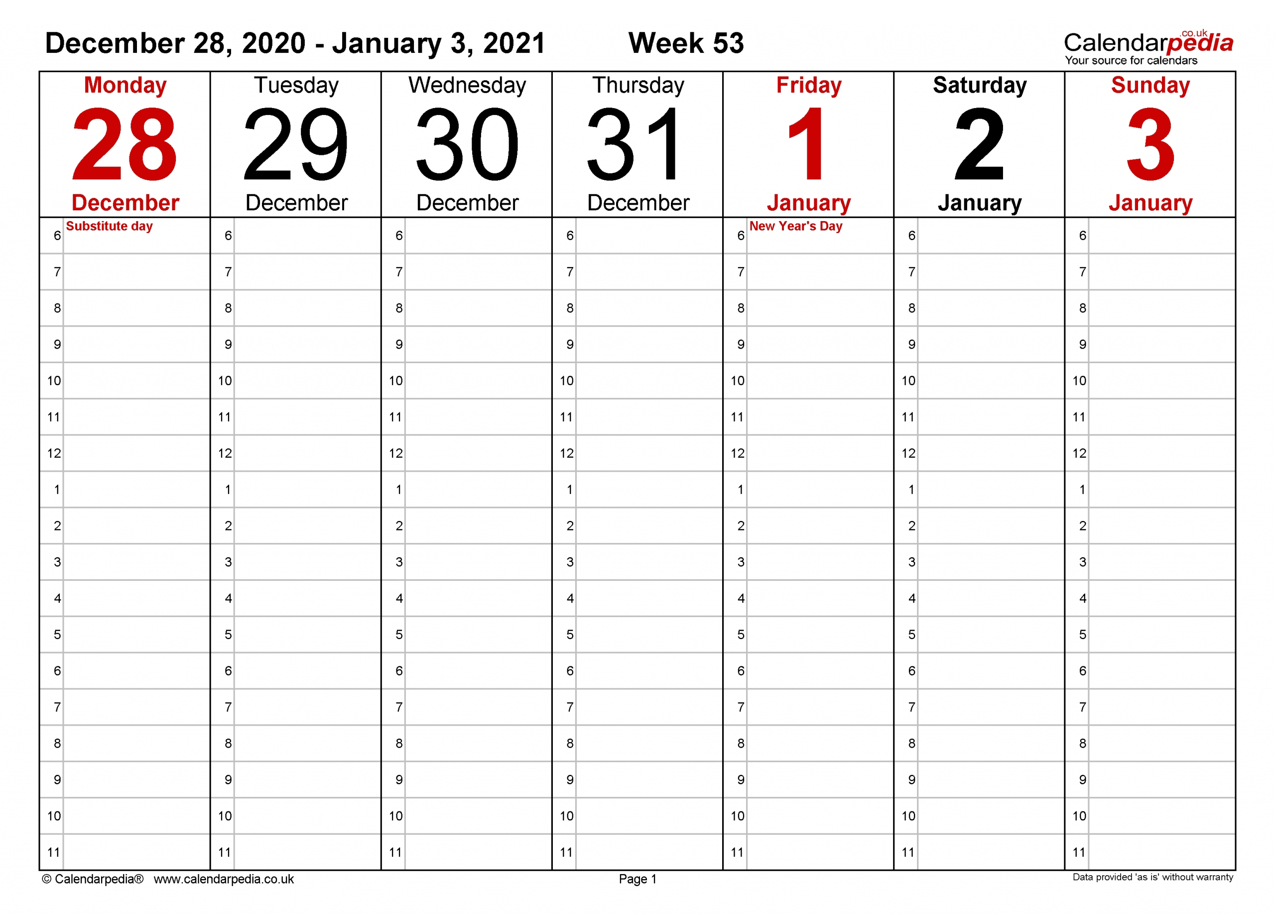 Weekly Calendar 2021 Uk - Free Printable Templates For Word-Print Free 2021 Calendar Without Downloading