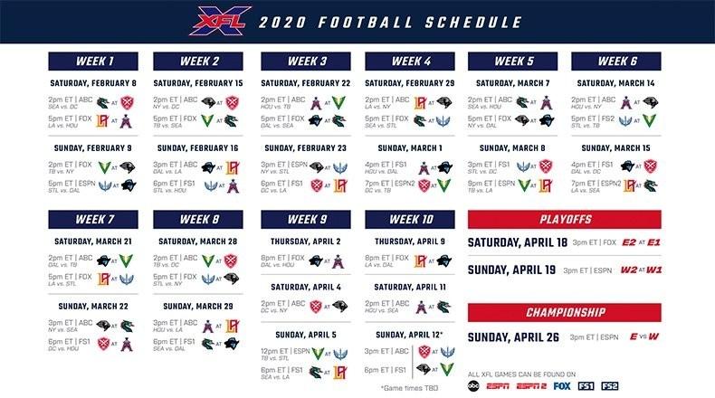 Xfl Football: 2020 Season Schedule-Free Nfl Schedule Printable